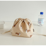 Example of use - Dailylike Welsh corgi soft oxford cotton bucket drawstring pouch