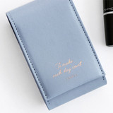 Pale blue - ICONIC Slit lipstick cosmetic pouch case with mirror
