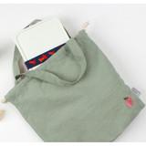 Peach - Wanna This Tailorbird embroidered medium drawstring pouch