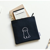 Usage example - Dailylike Embroidery rectangle fabric zipper pouch - Bichon