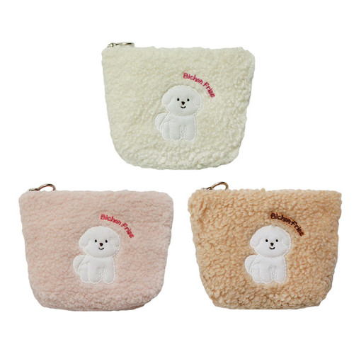 With Alice Bichon Frise mini triangle zip pouch
