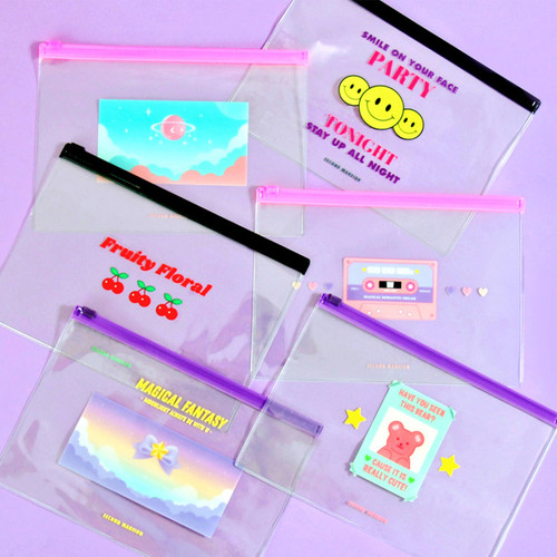 Second Mansion Retro mood clear PVC zip slide pouch