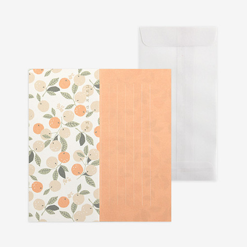 Dailylike Mind pattern letter with envelope set- Orange tree