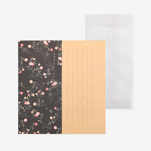 Dailylike Mind pattern letter with envelope set - Mini Rose