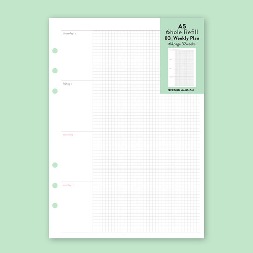 Second Mansion Weekly plan 6-ring A5 planner notebook refill
