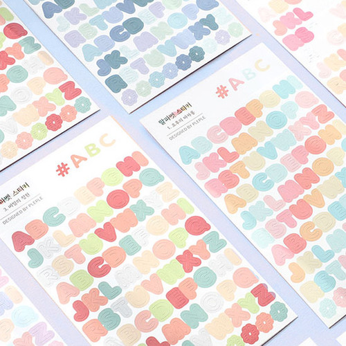 PLEPLE Alphabet gradation paper deco sticker sheet