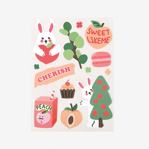 Dailylike Peach rabbit removable paper deco sticker