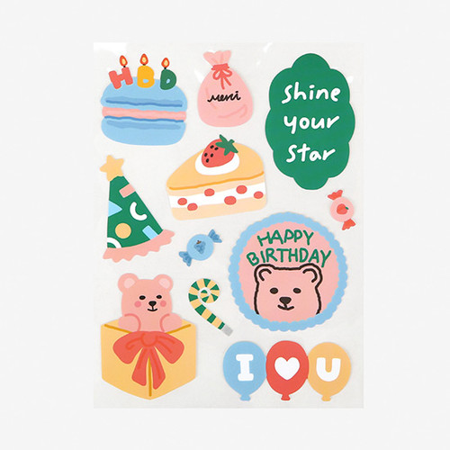 Dailylike Party bear removable paper deco sticker