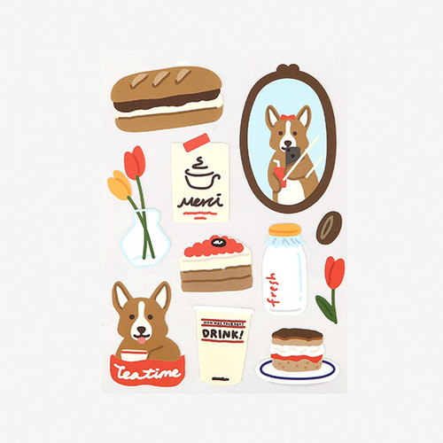 Dailylike Cafe corgi removable paper deco sticker
