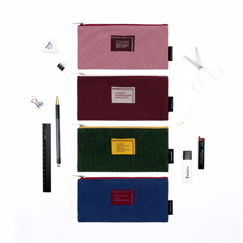 World literature lettering cotton zip pencil case pouch