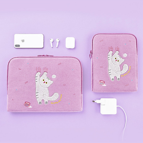 Milk cat boucle canvas iPad laptop sleeve pouch case