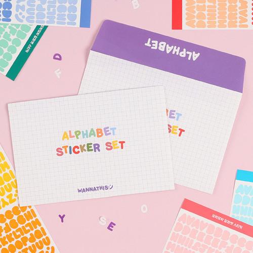 Alphabet upper case craft decoration sticker 10 colors set