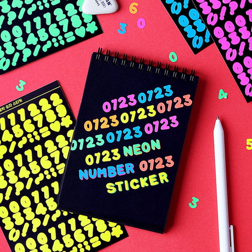 Wanna This Neon Number letter craft decoration sticker