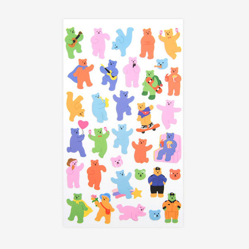 For your heart paper adhesive sticker - Jelly bear 2