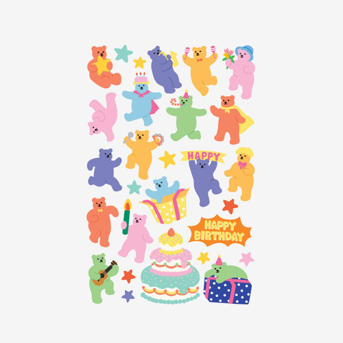 Dailylike Jelly bear Party paper removable sticker