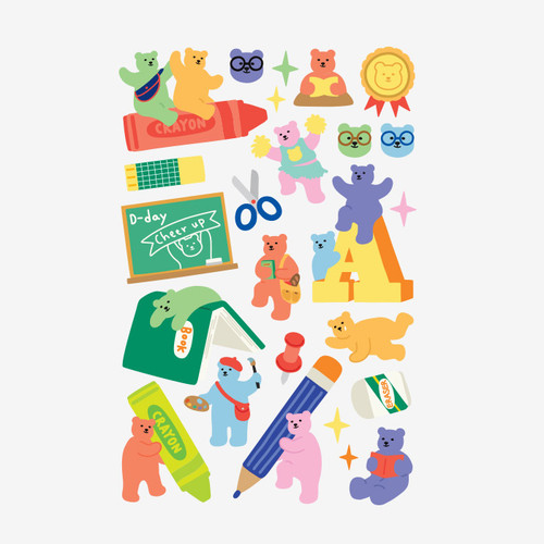 Dailylike Jelly bear Study paper removable sticker