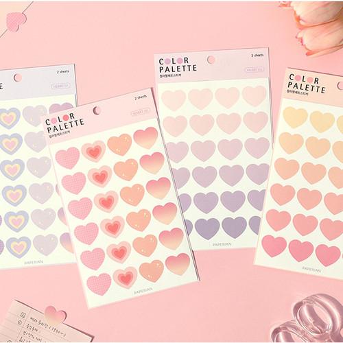 PAPERIAN Color palette Heart deco sticker set