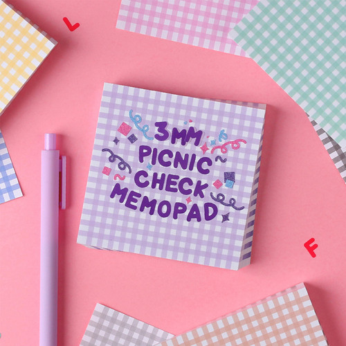 Wanna This Picnic 3mm check 4 designs memo notes notepad