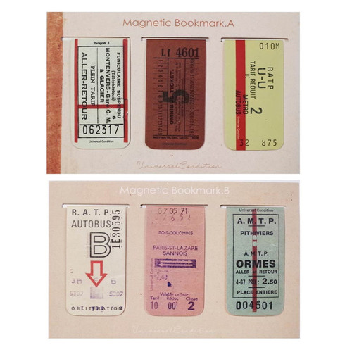 UNIVERSAL CONDITION Vintage ticket magnet bookmark set