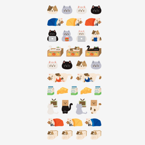 Dailylike Lazy cat removable paper diary deco sticker seal