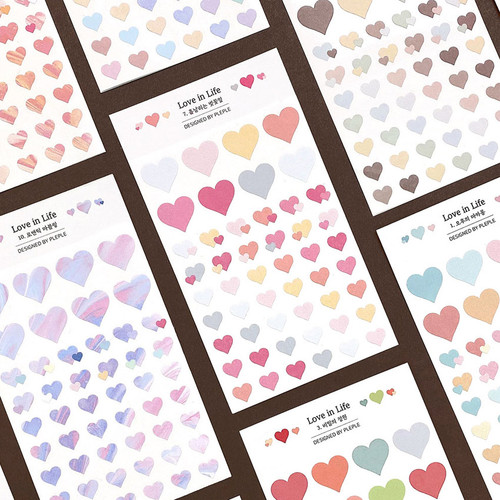 PLEPLE Love in Life paper deco sticker 2 sheets