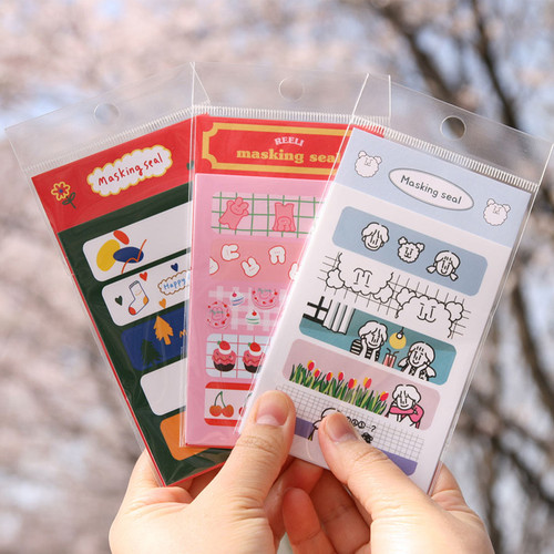 DESIGN GOMGOM Cute masking deco sticker seal