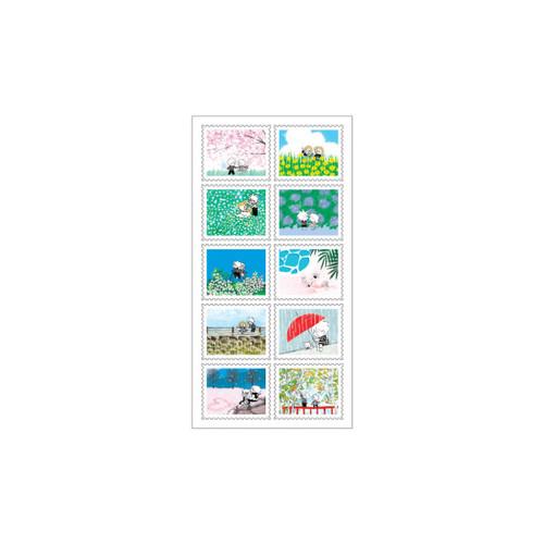 DESIGN GOMGOM Horizontal post stamp adhesive sticker sheet