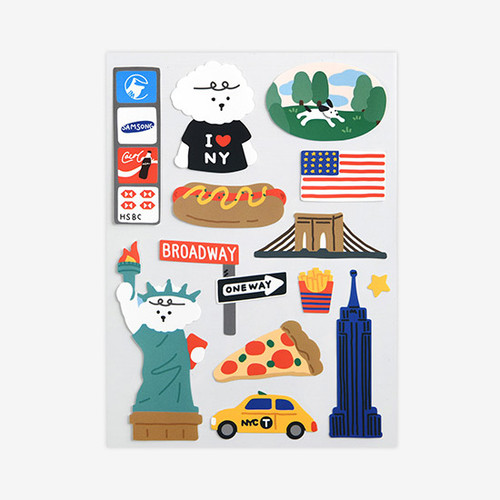 New York removable paper deco sticker
