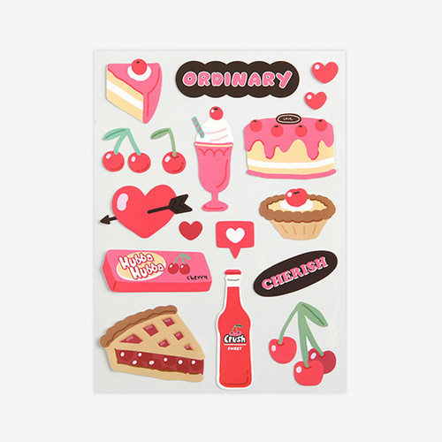Cherry removable paper deco sticker