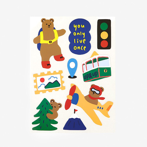 Bear's journey removable paper deco sticker