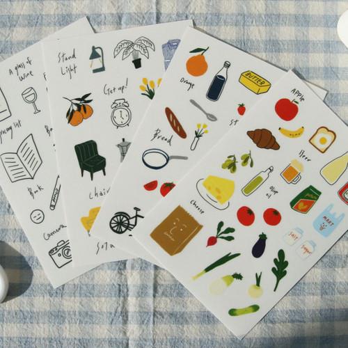 DESIGN GOMGOM Retro self cute sticker sheets set