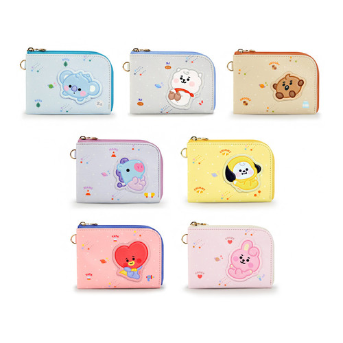 BT21 Baby zipper card pocket wallet with leather sticker