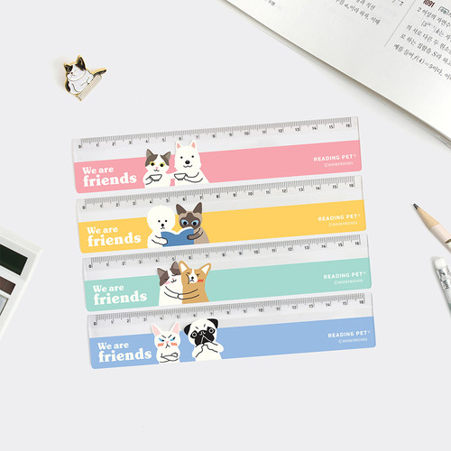 Bookfriends Reading pet 6 inches plastic ruler