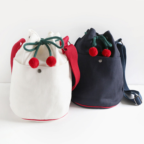 ROMANE Cherry cotton crossbody bucket bag ver2