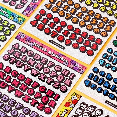 Kitsch kitsch Alphabet & Number holographic glitter sticker