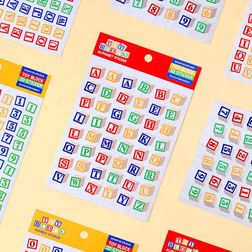 Wanna This Toy block Alphabet and Number removable sticker