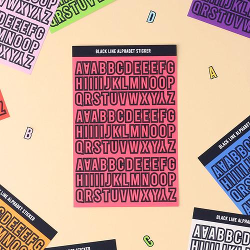 Wanna This Black line Upper case Alphabet sticker