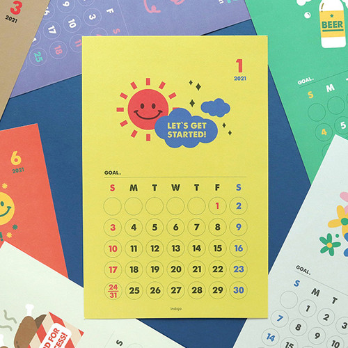 Indigo 2021 Cheer me up monthly wall poster calendar