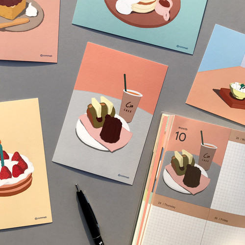 Design comma-B Sweet dessert illustration postcard