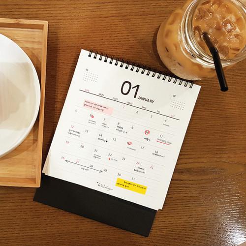 ICIEL 2021 Black monthly desk calendar