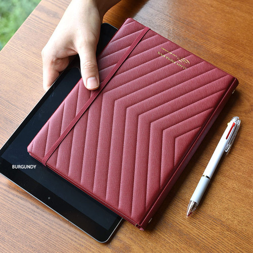 Burgundy - Play Obje Classy A5 6-ring slim metal binder planner book