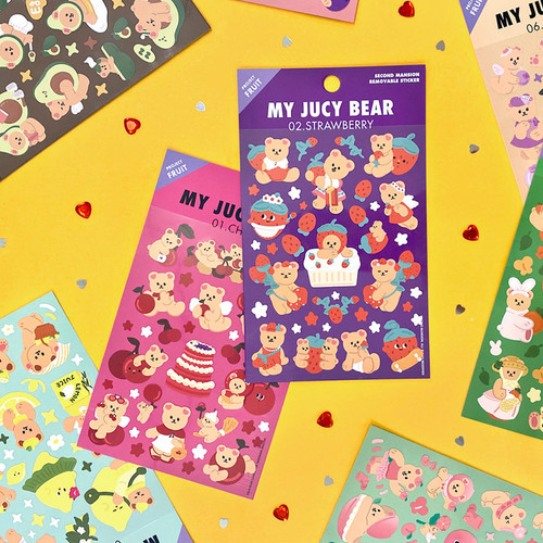 Project fruit my juicy bear removable sticker