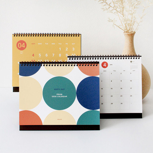 Indigo Happy 2021 Prism monthly desk calendar