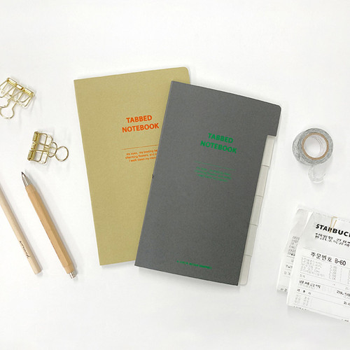 O-check Index tabbed pocket grid notebook