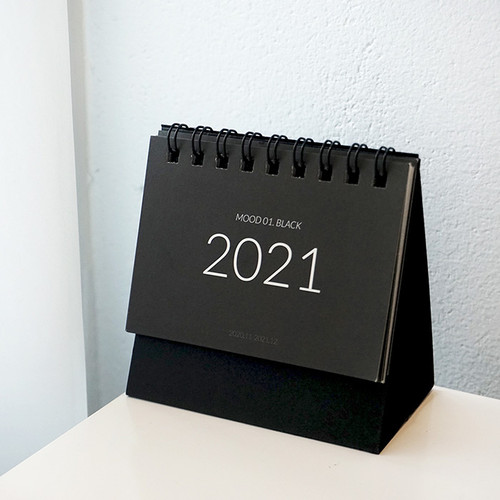 N.IVY 2021 Mood black small standing monthly desk calendar