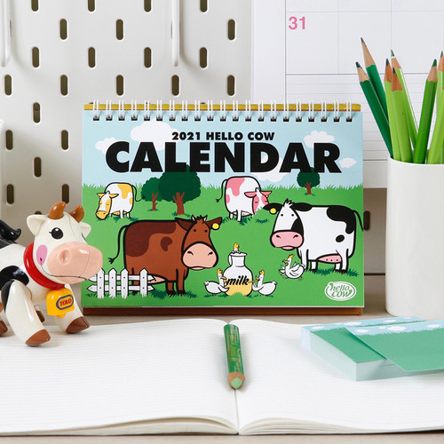 Chachap 2021 Hello cow dated monthly desk calendar
