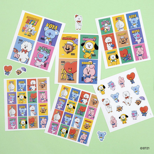 BT21 Vintage paper removable sticker 6 sheets set