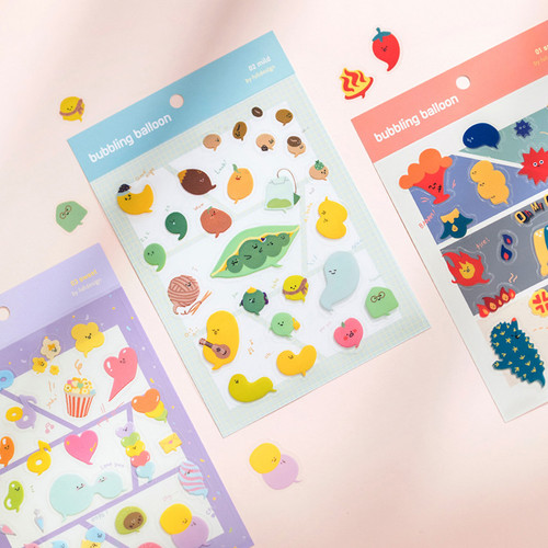 Byfulldesign Bubbling balloon deco sticker sheet set