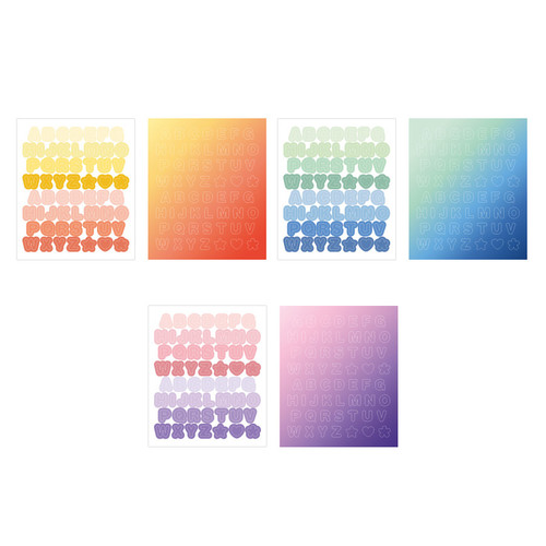 Indigo Color and Gradation Alphabet sticker set