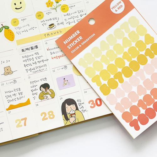 Usage example - Indigo Color and Gradation Number sticker set
